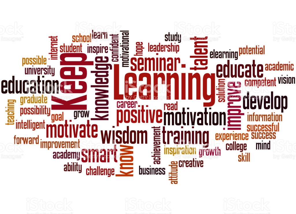 Keep Learning, word cloud concept on white background.